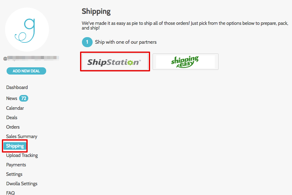groopdealz dashboard with Shipping menu and ShipStation logo highlighted.
