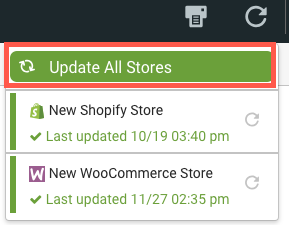 Import stores drop-down menu with Update All Stores button highlighted.