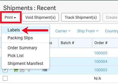 Shipments grid with Print drop-down highlighted and arrow pointing to the Labels option.