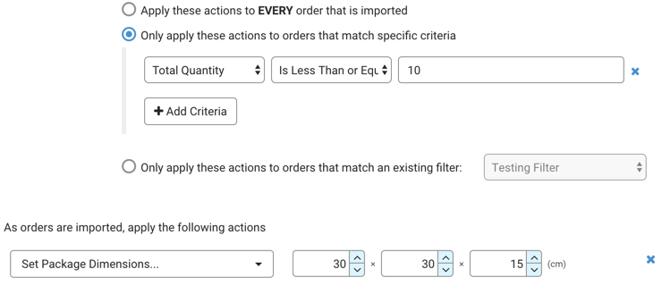 Automation Rules. Example for setting dimensions in Metric