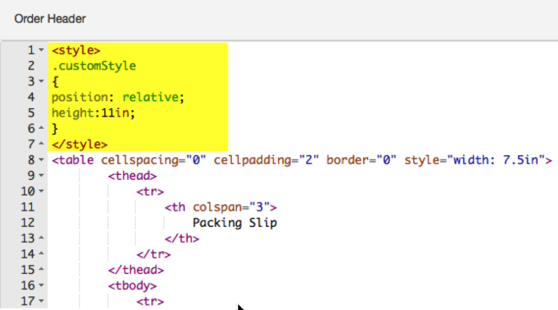 Packing Slip HTML: yellow highlights custom style snippet in the code.