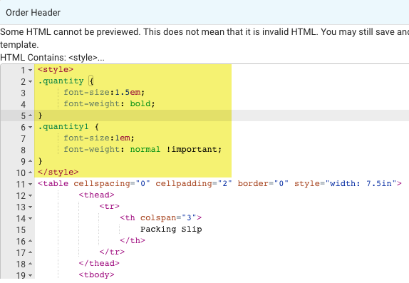 Packing Slip CSS: yellow highlights Item Quantity snippet in the code.