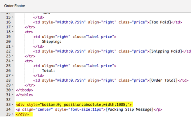 Packing Slip HTML: yellow highlights div position snippet in the code.