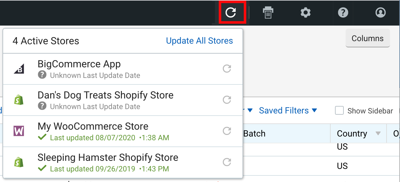 Import Orders drop-down menu with Import icon highlighted.