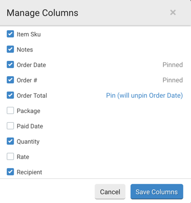 "Manage Columns pop-up. Hover over a visible but non-pinned column & message reads, ""Pin (will unpin Order Date)"""