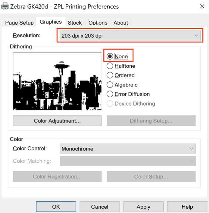 Onglet Graphiques des préférence de l'imprimante Zebra avec une résolution définie sur 203 ppp et un tramage défini sur Aucun.