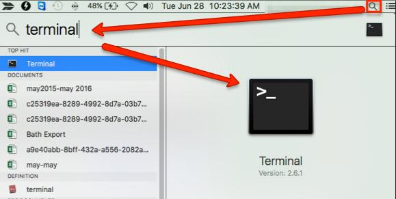 Icône de recherche MAC en surbrillance, le terme terminal saisi dans la barre de recherche.