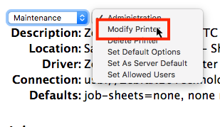 Menu Maintenance de CUPS avec l'option Modifier l'imprimante en surbrillance.