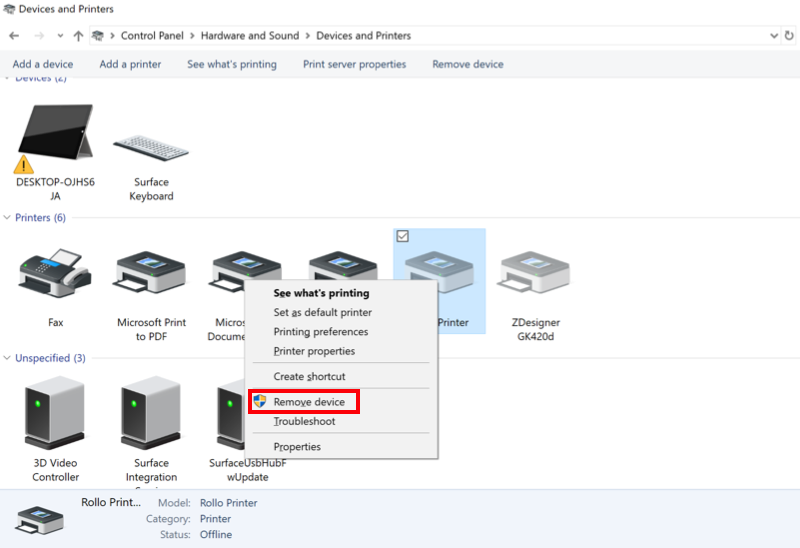 Menu Périphériques et imprimantes de Windows avec l'option Supprimer le périphérique en surbrillance.