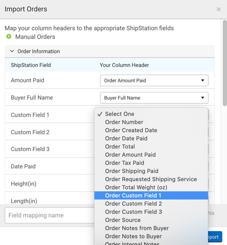 Order CSV field mapping pop-up with Buyer Username selected for the Buyer Username drop-down menu.