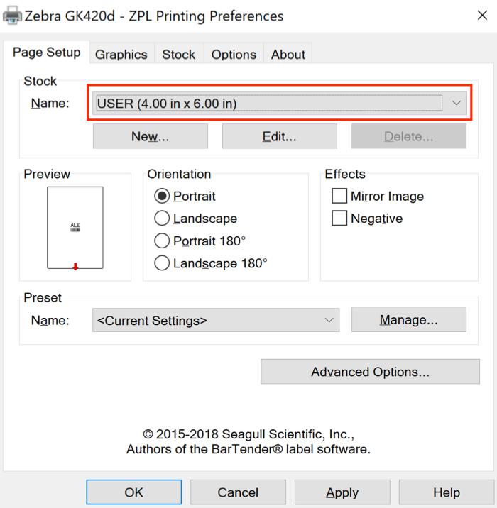 Onglet Configuration de la page de préférence de l'imprimante avec Nom en surbrillance.