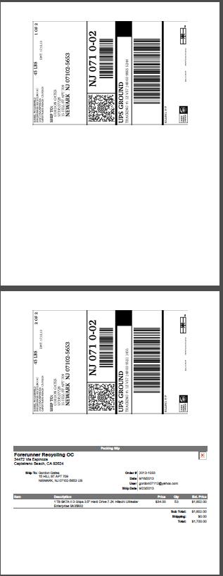 Mise en page d'impression d'étiquettes avec les étiquettes imprimées dans le haut de la page et le bordereau d'expédition en bas de page.